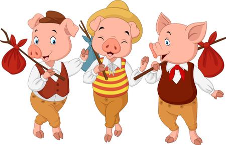 Illustration pour Vector illustration of Cartoon three little pigs - image libre de droit