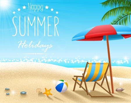 Illustration pour Vector illustration of Summer beach background - image libre de droit