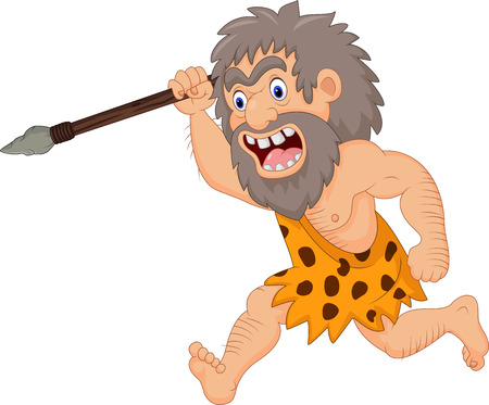 Illustration pour Vector illustration of Cartoon caveman hunting with spear - image libre de droit