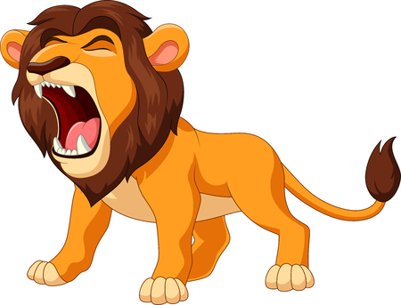 Ilustración de Vector illustration of cartoon lion roaring - Imagen libre de derechos