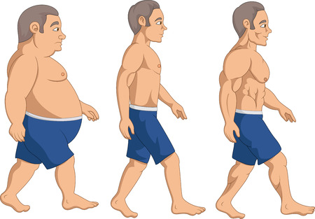 Illustration of Men slimming stage progress,