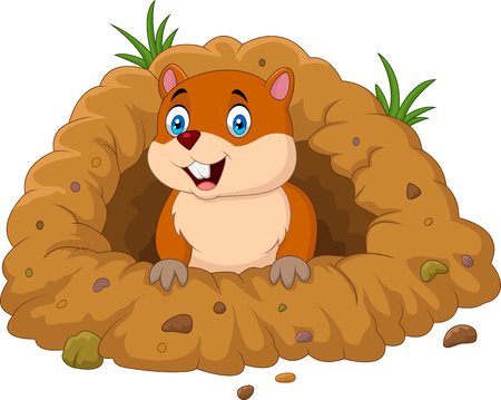 Illustration for Vector illustration of Cartoon groundhog looking out of hole - Royalty Free Image