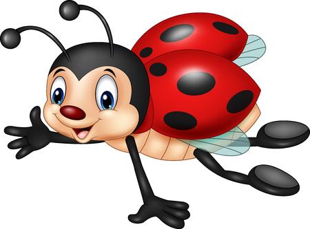 Ilustración de Vector illustration of Cartoon ladybug flying - Imagen libre de derechos
