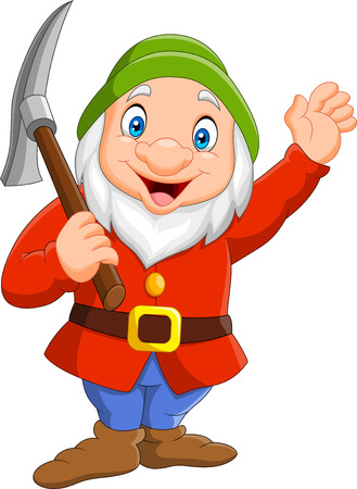 Ilustración de Happy dwarf miner isolated on white background - Imagen libre de derechos