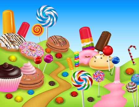 illustration of Sweet candyland with cupcake, ice cream, donut, lollipop, pancake and candy cane