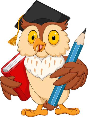 Illustration pour Cartoon owl holding pencil and book - image libre de droit