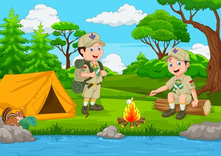 Ilustración de Cartoon scout with tent and camp fire - Imagen libre de derechos