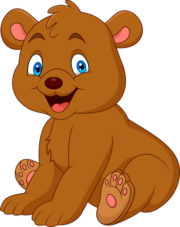 Illustration pour Cartoon happy baby bear - image libre de droit