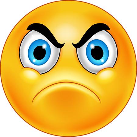 Illustration pour Cartoon annoyed smiley emoticon - image libre de droit