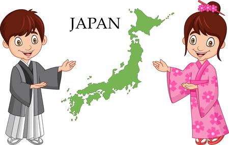Illustration pour Vector illustration of Cartoon Japanese couple wearing traditional costume - image libre de droit