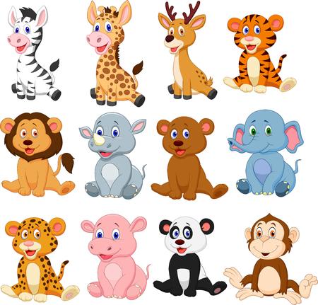 Ilustración de Vector illustration of Wild animals cartoon collection set - Imagen libre de derechos