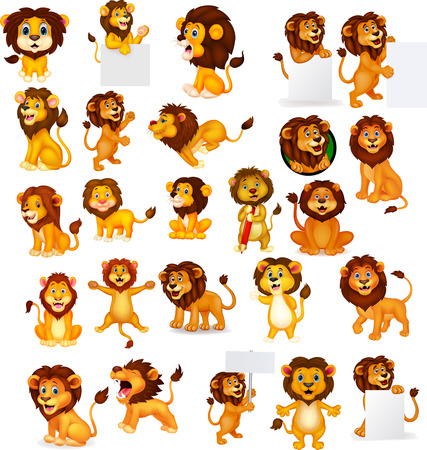 Illustration for Vector illustration of Cartoon lion collection set - Royalty Free Image