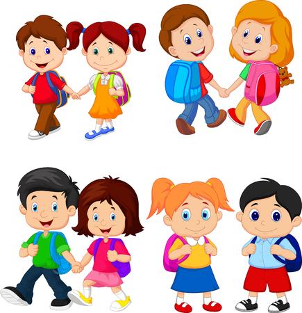 Ilustración de Cartoon school children with backpacks - Imagen libre de derechos