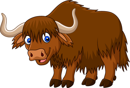 Illustration pour Vector illustration of Cartoon happy yak - image libre de droit