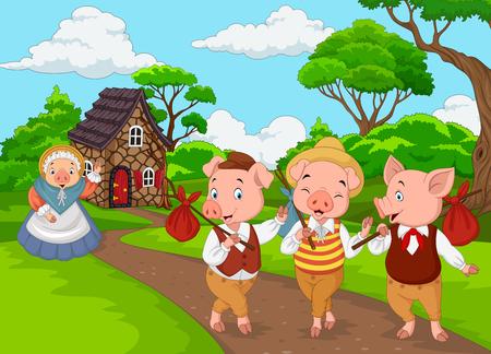 Illustration pour Vector illustration of Cartoon mother pig with three little pigs - image libre de droit