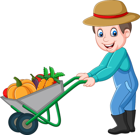 Illustration for Vector illustration of Cartoon young farmer pushing a wheelbarrow full of vegetables - Royalty Free Image
