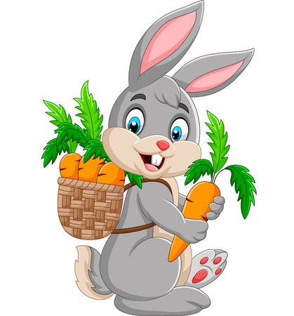 Ilustración de Easter Bunny carrying basket full of carrots - Imagen libre de derechos