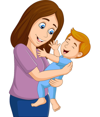 Illustration for Happy baby boy with his mother - Royalty Free Image