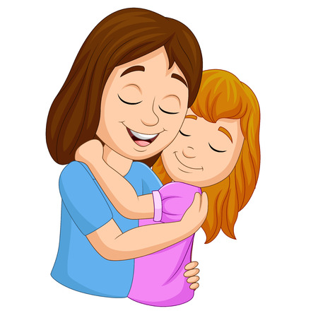 Illustration for Vector illustration of Cartoon happy mother hugging her daughter - Royalty Free Image