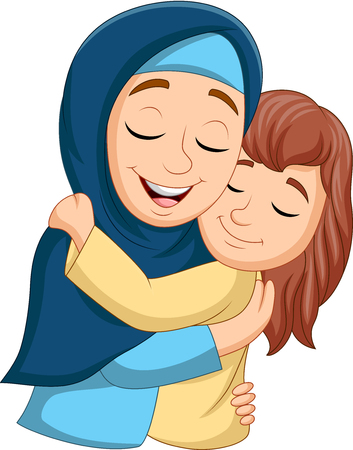 Illustration for Vector illustration of Muslim mother hugging her daughter - Royalty Free Image