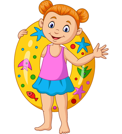 Illustration for Vector illustration of Cartoon little girl with inflatable ring - Royalty Free Image