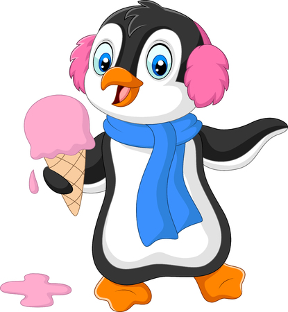 Illustration for Vector illustration of Cartoon penguin with earmuffs and scarf eats an ice cream - Royalty Free Image