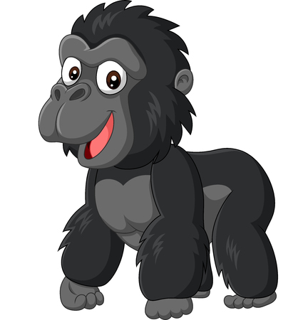 Illustration pour Vector illustration of Cartoon baby gorilla on white background - image libre de droit