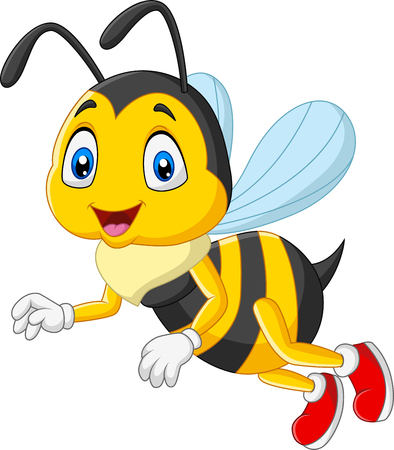 Illustration for Vector illustration of  Cartoon happy bee isolated on white background - Royalty Free Image