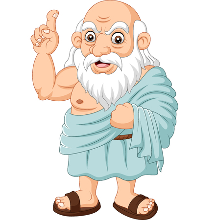 Illustration for Vector illustration of Cartoon ancient Greek philosopher on white background - Royalty Free Image
