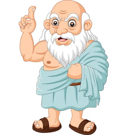 Ilustración de Vector illustration of Cartoon ancient Greek philosopher on white background - Imagen libre de derechos