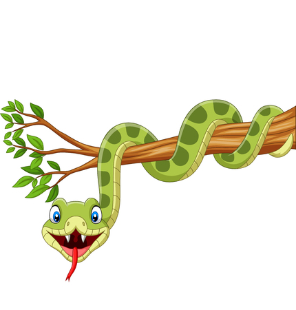 Illustration pour Vector illustration of Cartoon green snake on tree branch - image libre de droit