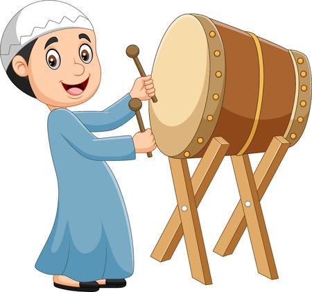 Vektor für Vector illustration of Cartoon Muslim boy hitting Bedug - Lizenzfreies Bild