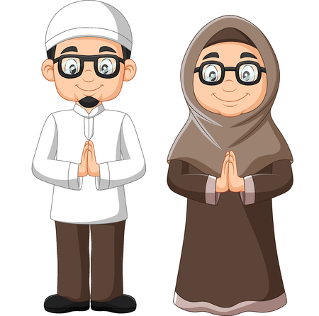 Illustration for Vector illustration of Cartoon old Muslim couple on white background - Royalty Free Image
