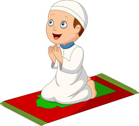 Illustration pour Vector illustration of Cartoon Muslim boy praying on the prayer rug - image libre de droit