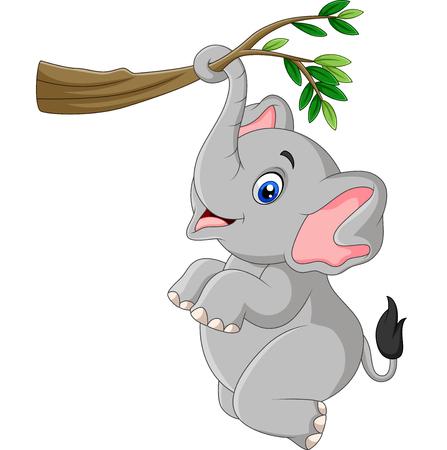 Ilustración de Vector illustration of Cartoon funny elephant playing on a tree branch - Imagen libre de derechos