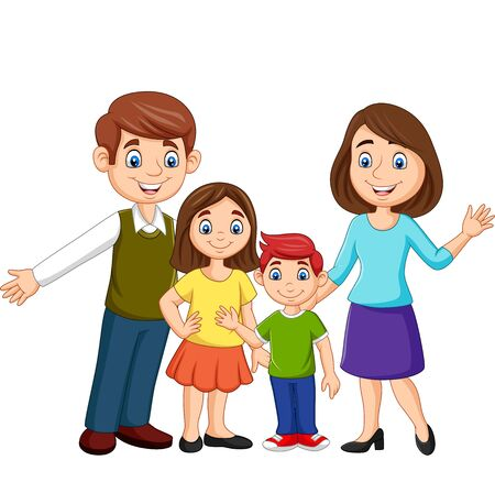 Illustration for Vector illustration of Cartoon happy family on white background - Royalty Free Image