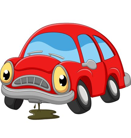 Ilustración de Cartoon red car sad in need of repair - Imagen libre de derechos