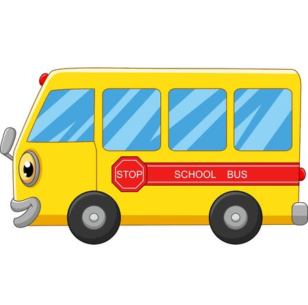 Illustration for Yellow school bus cartoon on white - Royalty Free Image