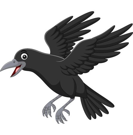 Illustration pour Vector illustration of Cartoon crow flying isolated on white background - image libre de droit