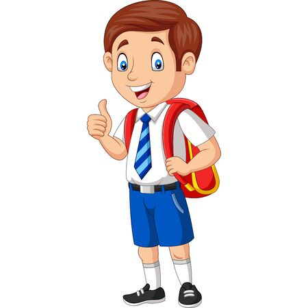 Vektor für Vector illustration of Cartoon happy school boy in uniform giving a thumb up - Lizenzfreies Bild