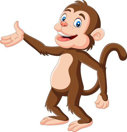 Illustration pour Vector illustration of Cartoon happy monkey presenting on white background - image libre de droit