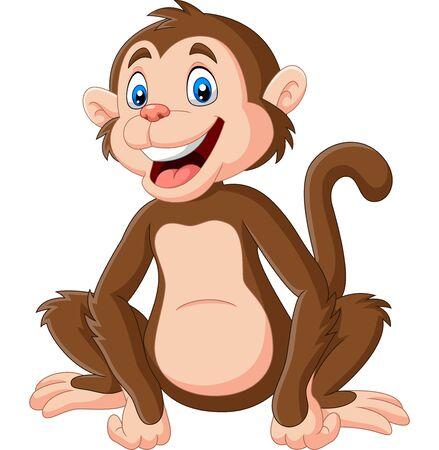 Illustration pour Vector illustration of Cute baby monkey sitting on white background - image libre de droit
