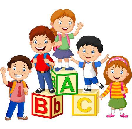 Illustration pour Vector illustration of Happy school children with alphabet blocks - image libre de droit