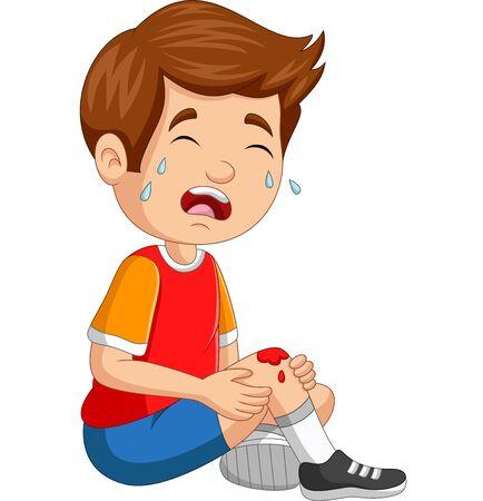 Ilustración de Vector illustration of Cartoon little boy crying with scraped knee - Imagen libre de derechos
