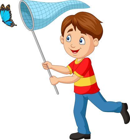 Vektor für Vector illustration of Cartoon boy catching a butterfly - Lizenzfreies Bild