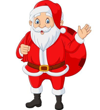 Illustration pour Vector illustration of Santa claus carrying a bag of the presents waving - image libre de droit