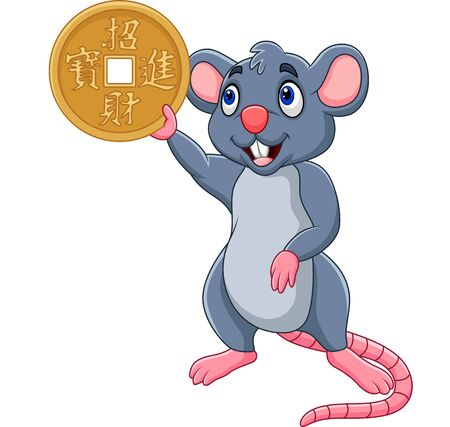 Photo pour Vector illustration of Funny cartoon Rat as symbol of new year 2020 holding gold coin. Chinese translation : Happy chinese new year - image libre de droit