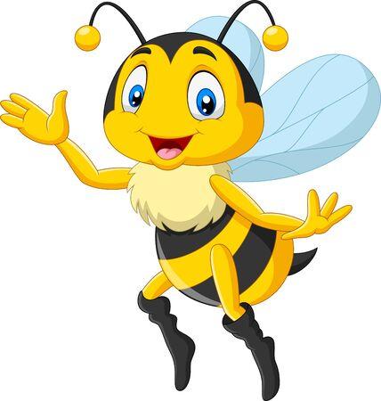 Foto für Vector illustration of Cartoon happy bee waving hand - Lizenzfreies Bild