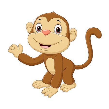 Illustration pour Vector illustration of Cute baby monkey waving hand - image libre de droit