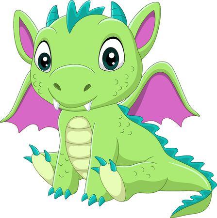 Illustration pour Vector illustration of Cartoon baby green dragon sitting - image libre de droit